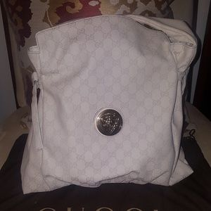 Authentic Ivory Canvas Gucci hysteria bag